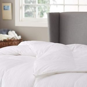 Pinzon Hypoallergenic White Goose Down Comforter, 100% Cotton Cover - Medium Warmth